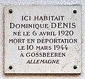 Plaque Dominique Denis, 14 rue Dupin, Paris 6e.jpg