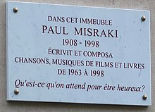 Plaque Paul Misraki avenue Bugeaud.jpg