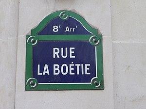 Rue La Boétie - Image: Plaque rue La Boétie à Paris