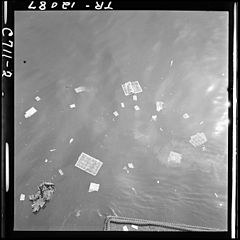 Playing cards, much read magazines and other articles cast overside of PT boat in the Philippines after they have... - NARA - 520916.jpg