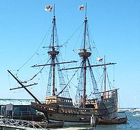 Replica ship Mayflower II at the State Pier in...