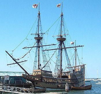 English: Replica ship Mayflower II at the Stat...