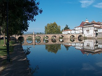 Chaves, Portugal - The emblematic symbol of Chaves, the historic Roman bridge of Emperor Trajan