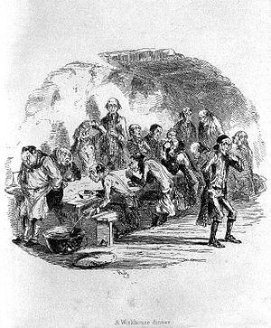 Poor people having dinner in a workhouse, 1840 Wellcome L0006801.jpg