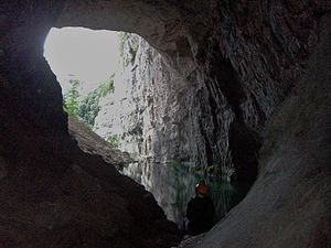 Vercors Cave System - Entrance of Bournillon, the highest porch of the Europe.