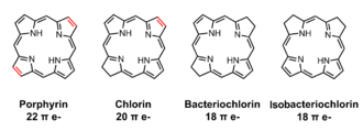 Chlorin - Structures comparing porphin, chlorin, bacteriochlorin, and isobacteriochlorin.
