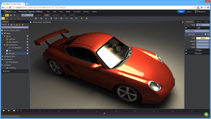 Clara.io with a V-Ray rendering of Porsche Cayman 3D model.