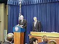 Porter Goss and Daniel Patrick Moynihan introduce the Public Interest Declassification Act of 1999.jpg