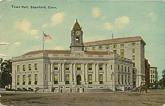 Downtown Stamford - Image: Postcard Stamford CT Old Town Hall 1914