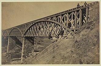 Potomac Creek Bridge - The Potomac Creek Bridge as it stood on April 18, 1863.