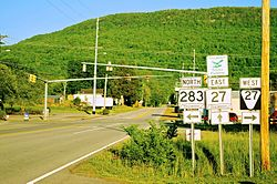 Intersection of State Route 283 and State Route 27 in Powells Crossroads