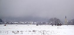 Winter panorama of Preddvor