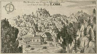 "Loibl Pass - Road and tunnel ""over and through Loibl Berg"", engraving by Johann Weikhard von Valvasor, 1679"