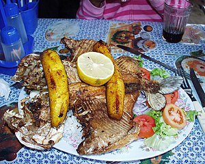 Cooking banana - Plantains served over fried pacu