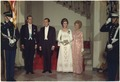 President and Mrs. Nixon and Prince Juan Carlos and Princess Sophia of Spain, in evening attire, prior to receiving... - NARA - 194349.tif