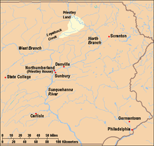 Map of eastern Pennsylvania showing important locations for the history of Priestley and the area