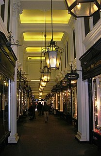an arcade of shops running between Piccadilly and Jermyn Street in central London