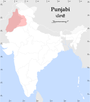 East Punjab - A map of the distribution of native Punjabi speakers in India and Pakistan
