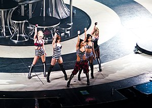 "Bad Girl (Rihanna song) - Rihanna and Brown's version of ""Bad Girl"" was replaced by a version performed by the Pussycat Dolls (pictured)."