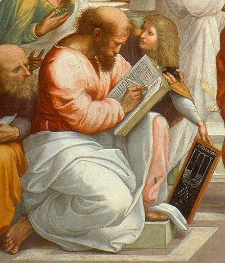 Detail of Pythagoras with a tablet of ratios, numbers sacred to the Pythagoreans, from The School of Athens by Raphael. Vatican Palace, Vatican City.