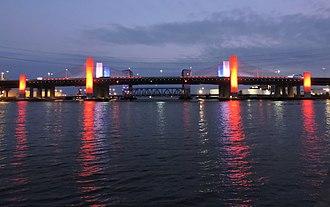 Pearl Harbor Memorial Bridge (Connecticut) - The Pearl Harbor Memorial Bridge, locally known as the Q Bridge, crosses over the Quinnipiac River.