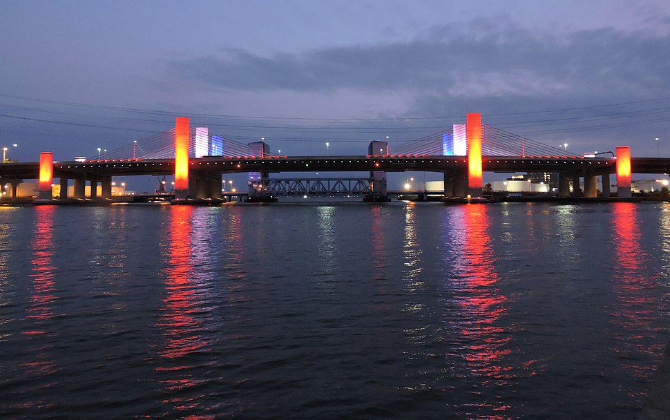 Q Bridge in New Haven Illuminated Red, White, and Blue (27460771747)