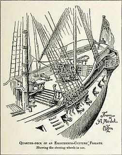 Quarterdeck Raised deck behind the main mast of a sailing ship