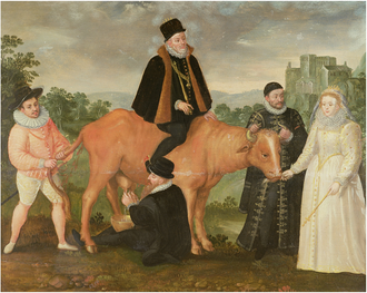 Francis, Duke of Anjou - Satirical Flemish painting painted  c.1586, three years after Anjou's Antwerp fiasco; depicting a cow which represents the Dutch provinces. King Philip II of Spain is vainly trying to ride the cow, drawing blood with his spurs. Queen Elizabeth I is feeding it while William of Orange holds it steady by the horns. The cow is defecating on the Duke of Anjou, who is holding its tail.