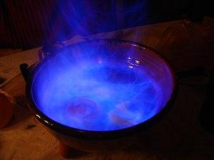 Queimada (drink) - Queimada's characteristic blue fire.