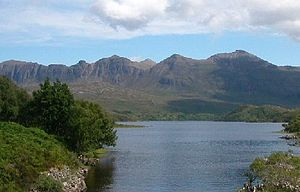 Quinag - Quinag in the distance from the western end of Loch Assynt