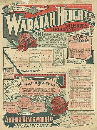 Salisbury, Queensland - Real estate map of Waratah Heights Estate, Salisbury, ca. 1915