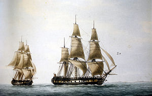 Félix Delahaye - The French frigates ''Recherche'' and ''Espérance'' sent in search of Jean François de la Pérouse, painted by François Joseph Frédéric Roux (1805-1870)