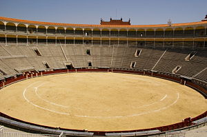 Las Ventas - View of the empty arena of Las Ventas. It is about 65 meters in diameter, one of the world's widest rings.