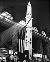 A large ballistic missile on display in the terminal
