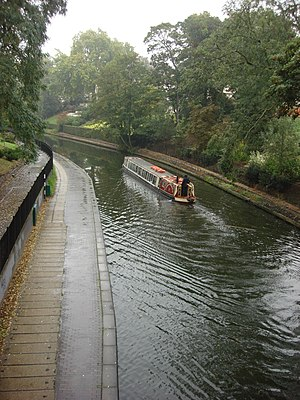 Transport on the Regent's Canal - A water bus near London Zoo