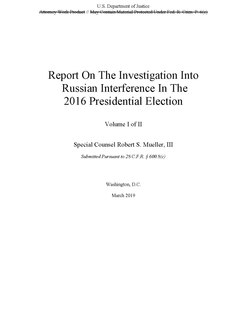 Mueller Report Report by Special Counsel Robert Mueller