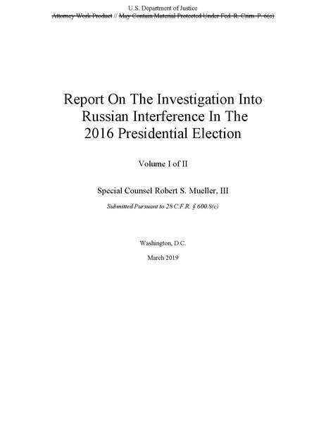 File:Report On The Investigation Into Russian Interference In The 2016 Presidential Election.pdf
