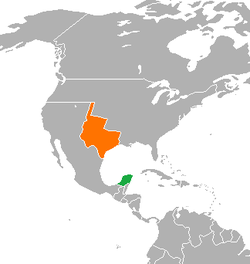 Map indicating locations of Republic of Yucatán and Republic of Texas