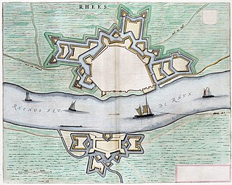 Siege of Rees (1599) - Map of Rees in 1649. Atlas van Loon.