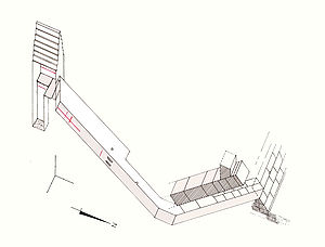Bent Pyramid - An axonometric projection of the inside of the satellite pyramid
