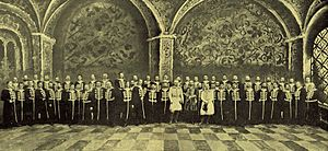 Riccardo Drigo - Photograph of Drigo (person to right wearing white) and orchestra of Imperial Mariinsky Theatre from the Yearbook of the Imperial Theatres. St. Petersburg, ca. 1905