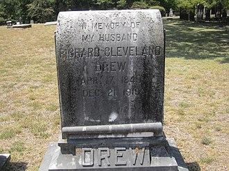 Richard Cleveland Drew - Faded Richard C. Drew tombstone in Minden Cemetery