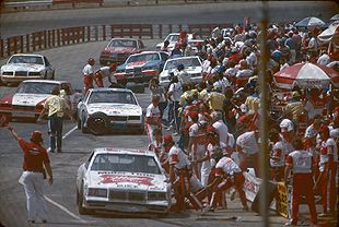 The pit road at Richmond International Raceway in 1985.