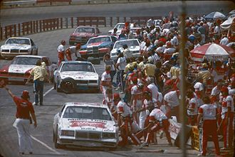 Richmond Raceway - The pits during a 1985 NASCAR Cup race
