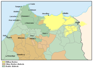 Riffian people - Riffian speaking regions of Morocco (yellow).