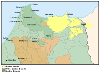 Riffians - Rifian speaking regions of Morocco (yellow).