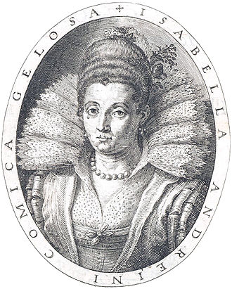 Isabella Andreini - Portrait from Rime, engraved by Raphael Sadeler, 1602