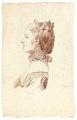 Ritstudie på kvinna med hårprydnad och halsband, 1700-tal - Skoklosters slott - 99190.tif