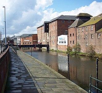 River Freshney - The old granary and riverside walk above Alexandra Dock