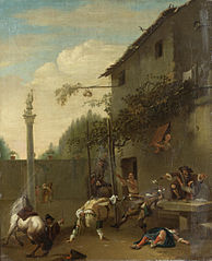 Soldiers fighting outside an inn